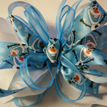 Frozen Olaf hair bow  toddler hair clip Olaf hair ribbon OTT hair bow boutique accessories Disney inspired  satin bow Powder blue snowman