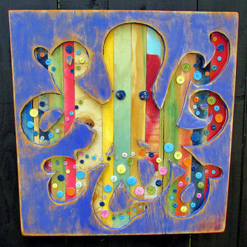 Wooden OCTOPUS Shadow Box - Playful Ocean Beach Coastal Wall Decor Nursery Sign Pallet Scrap Recycle