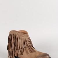 Qupid Faux Suede Fringe Ankle Bootie