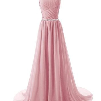 Fashion Plaza Women's Straps Bridesmaid Dresses Beaded Pleated Chiffon Gowns