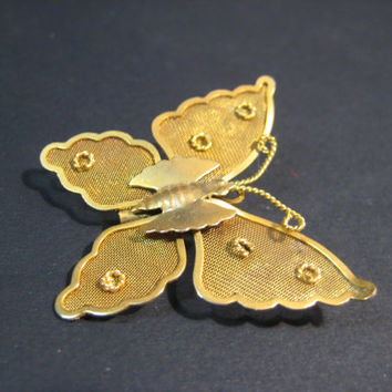Gold Mesh Butterfly Pin Brooch