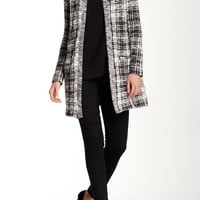 Plaid Pattern Sweater Jacket