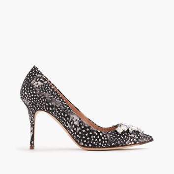 Elsie Jeweled Feather-Print Pumps