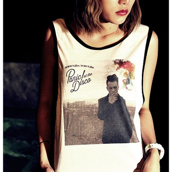 72ee9b9973f0b Panic at the Disco Tank Top Girl Sexy Summer Sideboob Women Shir