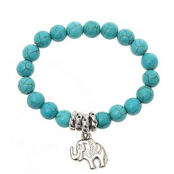 Turquoise Beads Elephant Bracelet, Handmade Accessories, Fashion Jewelry