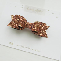 Girl and adult Bronze gold glitter fabric double bow hair clip - so Sparkly!!! Can be made in any colour!!