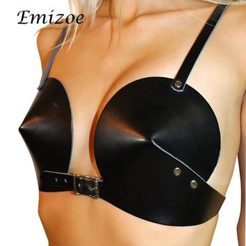 Emizoe sexy leather PU black bra women sexy club harness top simple style bralette top