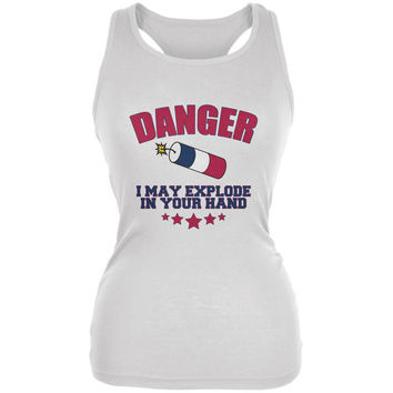 4th Of July Explode In Your Hand White Juniors Soft Tank Top