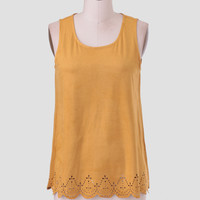 Autumn Air Faux Suede Top In Yellow