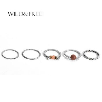 2017 New Vintage 5 PCS Stone Beads Ring Sets Handmade Antique Gold Silver Adjustable Midi finger Rings for Women jewelry Gift