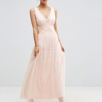 Little Mistress Petite Scallop Lace Top Pleated Maxi Dress at asos.com