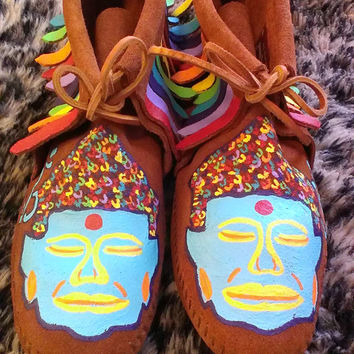 Custom Buddha Om Moccasins in the Chakras Colors