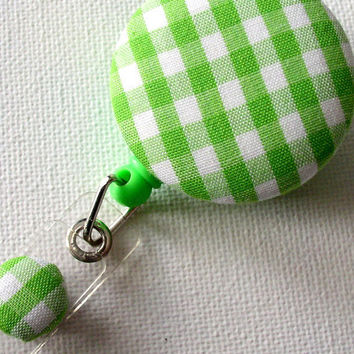 Cute Badge Reel Name Tag Badge Green and White by JeJeweled