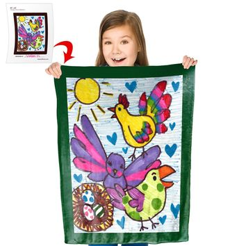 """Turn Your Child's Drawing into a 30"""" x 40"""" Plush Fleece Mini Blanket"""