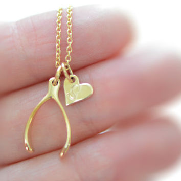 Tiny Gold Wishbone Necklace, Heart Initial Disc Charm, Personalize Gold Necklace, Bronze Wishbone Charm, Everyday Necklace, Initial Necklace