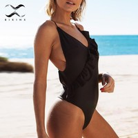 Bikinx Spaghetti padded swimsuit with ruffles bikinis women 2018 swimwear female sexy bodysuit push up bathers