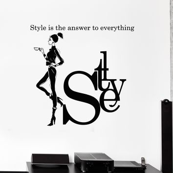 Vinyl Wall Decal Style Woman Quote Girl Fashion Studio Art Room Stickers Mural Unique Gift (ig5195)