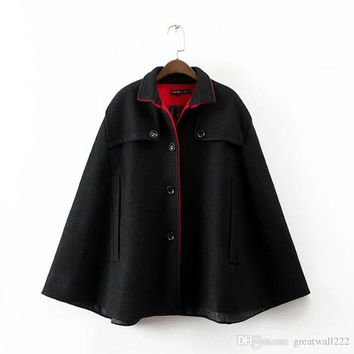 Women's Winter New Vintage Black red Warm Woolen Cloak Coat Drop-Shoulder Sleeve Wool Cape Outerwear