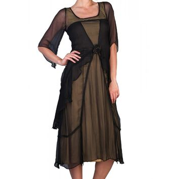 Nataya 10709 Women's 1920's Vintage Style Great Gatsby Dress in Black/Gold