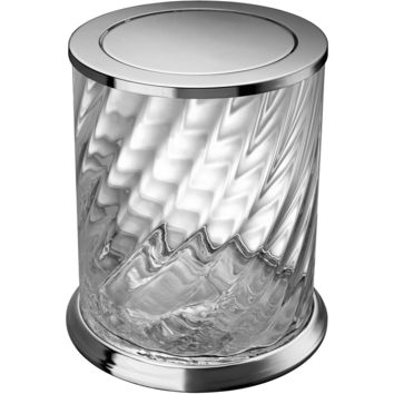 Spiral Clear Glass Round Wastebasket Trash Can for Bath, Kitchen W/ Swing Lid
