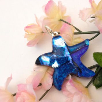 CIJ SALE Dichroic Fused Glass Necklace Pendant Starfish in Blue Statement Jewelry 177