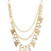 Gold Hammered Metal & Stone Statement Necklace by Charlotte Russe