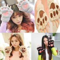 Women Fingerless Plush Paw Fur Gloves Mittens