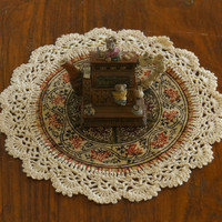"Set 3- Famous Kalamkari Handmade Crochet Doilies- Natural Color- 8"" Inches"