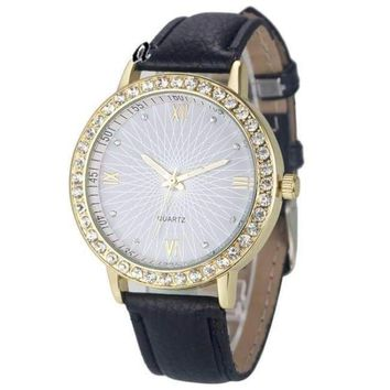 Fashion Diamond Analog Leather Quartz Unisex Wrist Watch