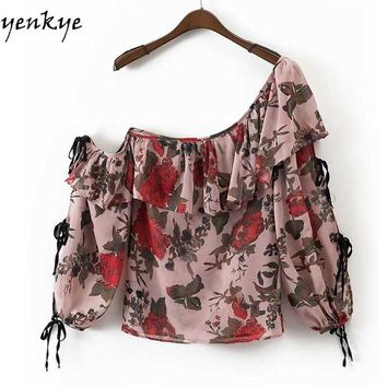 Vintage Floral Printed Ruffles Oblique Blouse Women Skew Collar Long Sleeve Tie Shirt Summer Tops