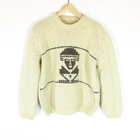 Vintage Cowichan Sweater -- Aztec Sweater -- 70s Cream Wool Knit Pullover -- Crewneck Sweater -- Unisex Size S / M