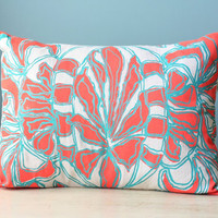 Flower Linen Pillow Cover Decorative Cushion Throw 12x16 Lumbar Floral Design Coral Orange Turquoise Teal Printed Silk Screen