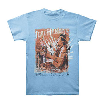 Jimi Hendrix Men's  Cry Of Love Tour T-shirt Blue Rockabilia
