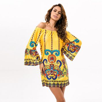 Off Shoulder Women Summer Beach Indian Dress Boho Sexy Bohemian Floral Vintage Dresses Sundress Vestidos Robe Plus Size Dashiki
