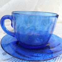 Vintage Cobalt Hand Blown Glass Teacup and Saucer