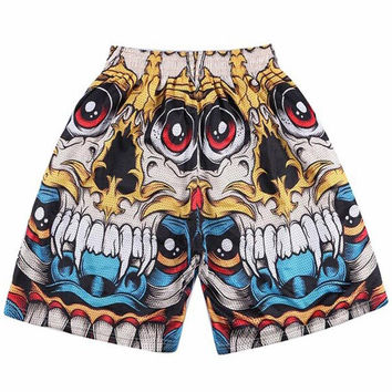 3d shorts men 3d print skull/Tupac/Lion/Jesus golden flowers short pant masculina beach shorts