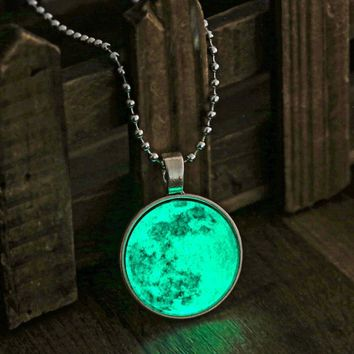 Moon Necklace Vintage Long  Moon Necklaces Glow In The Dark Pendant