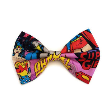 Wonder Woman Bow • DC Comics Bow • Super Girl Bow • Batgirl Hair Bow • Comic Hair Bow • Comic Book Hair Bow • DC Comics • Girl Power Bow