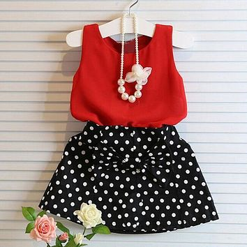 Girls Vest Pleated Dress Two Pieces Set Clothes Children Skirt Suit