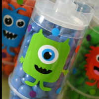 5 Halloween Monster push pop party favors