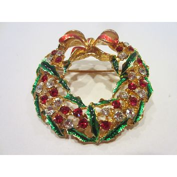 Wreath Brooch Bold Enamel Rhinestones Red Flowers Green Leaves