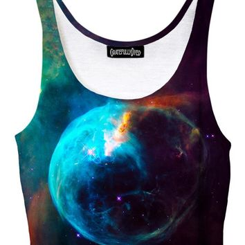 New Earth Blue Planet Galaxy Crop Top