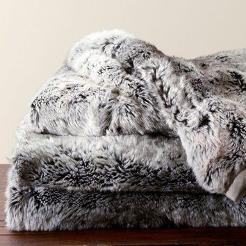 Faux Fur Throw   Gray Ombre