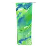 Touch of Blue Abstract Semi-Sheer Curtain Panels