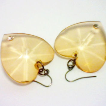 Chunky  Amber Faceted Heart Earrings-Mother's Day Jewelry - 12.95