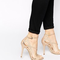 Karen Millen Snake Effect Strappy Heeled Sandals