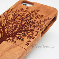 Natural Wood Engraved Tree iPhone 5C iPhone 4/4s iPhone 5/5s wooden case, Bamboo Cherry Sapele Buginga Rosewood Laser Engraving for Samsung