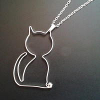 Cat Necklace, Silver Ribbon Wire Cat Pendant, Cat Jewelry, Wire Wrapped Kitty Necklace, Animal jewellery, Feline Statement Jewelry, OOAK