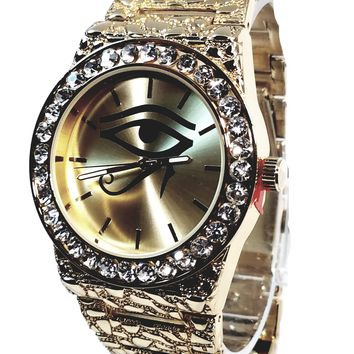 Techno Pave Gold Finish Eye of Horus Iced Out Lab Diamond Iced Face Mens Watch Metal Band Bling 8659