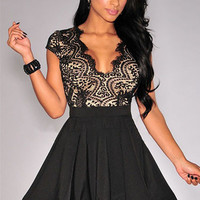Black Lace Nude Illusion Key-Hole Back Flared Dress